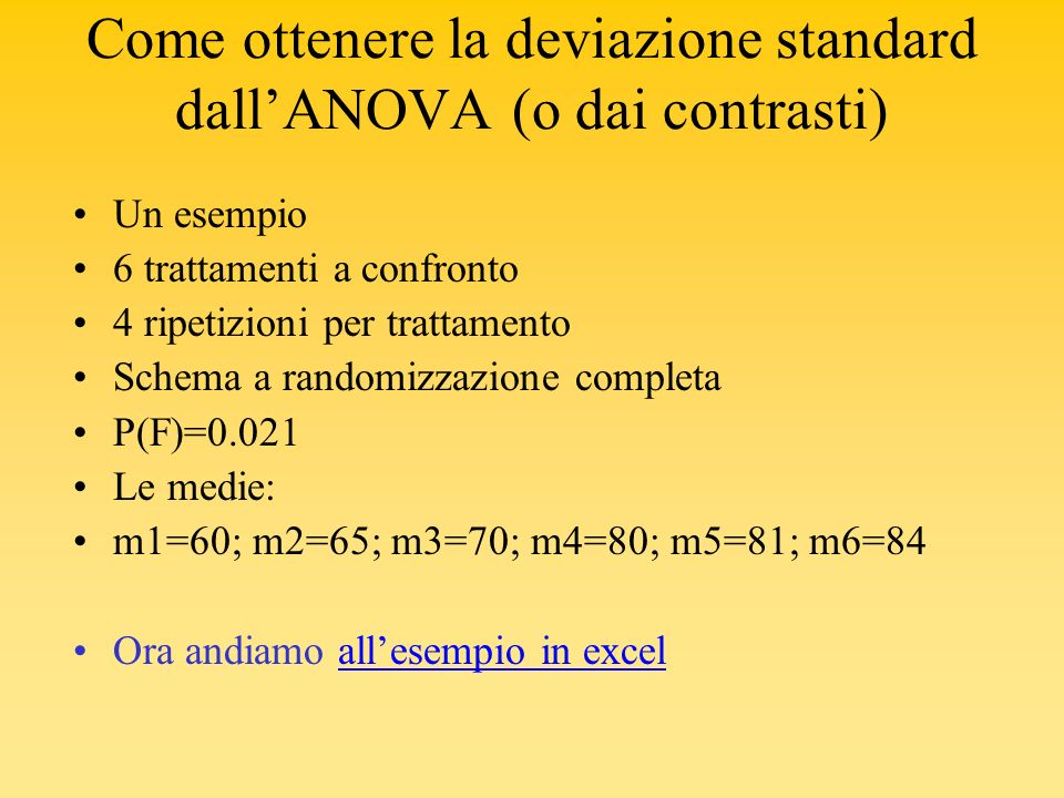 Come ottenere la deviazione standard dallANOVA (o dai contrasti) Un esempio 6 trattamenti a confronto 4 ripetizioni per trattamento Schema a randomizz