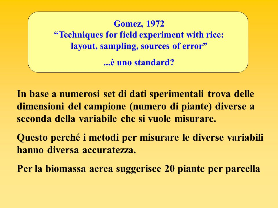 Wolkowski et al., 1988 Determinazione della biomassa aerea Raccoglie tutte le piante su una fila e ne pesa 1, 5, 10, 15, 20, 25, tutte (estrazione random) Calcola il coefficiente di variazione Guarda quando il CV è più basso (CV più basso = 14%) Esempi da letteratura riguardanti metodi alternativi per la determinazione delle dimensioni del campione