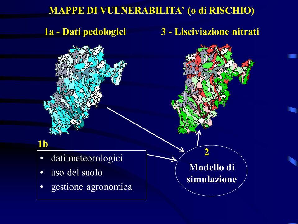 MAPPE DI VULNERABILITA (o di RISCHIO) Modello di simulazione 1a - Dati pedologici 2 3 - Lisciviazione nitrati dati meteorologici uso del suolo gestion
