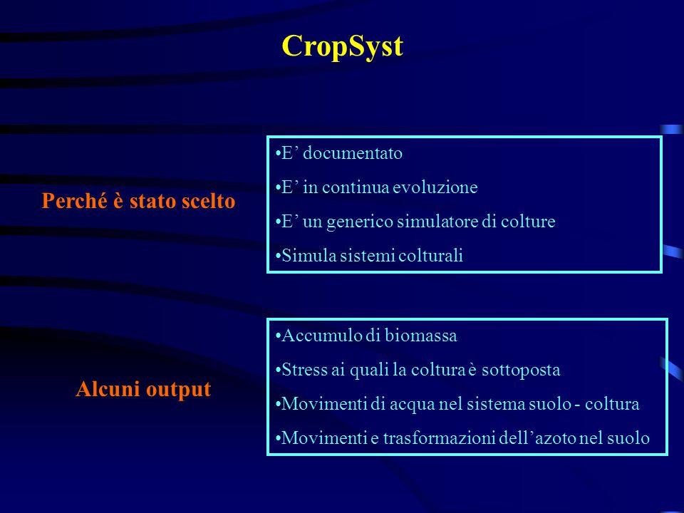 E documentato E in continua evoluzione E un generico simulatore di colture Simula sistemi colturali Accumulo di biomassa Stress ai quali la coltura è