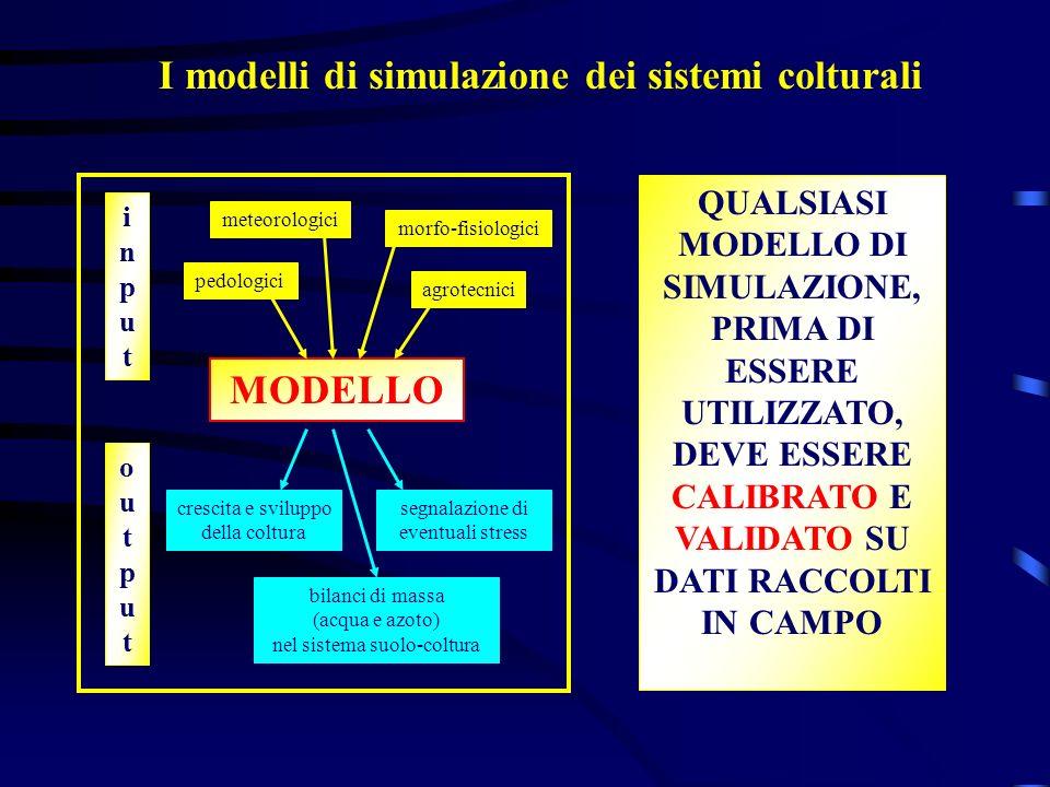 I modelli di simulazione dei sistemi colturali MODELLO meteorologici pedologici agrotecnici morfo-fisiologici crescita e sviluppo della coltura bilanc