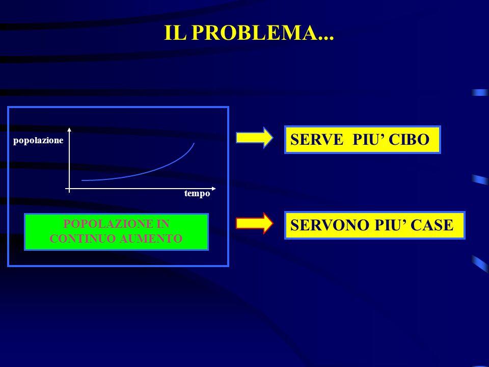 tempo popolazione POPOLAZIONE IN CONTINUO AUMENTO SERVONO PIU CASE SERVE PIU CIBO IL PROBLEMA...