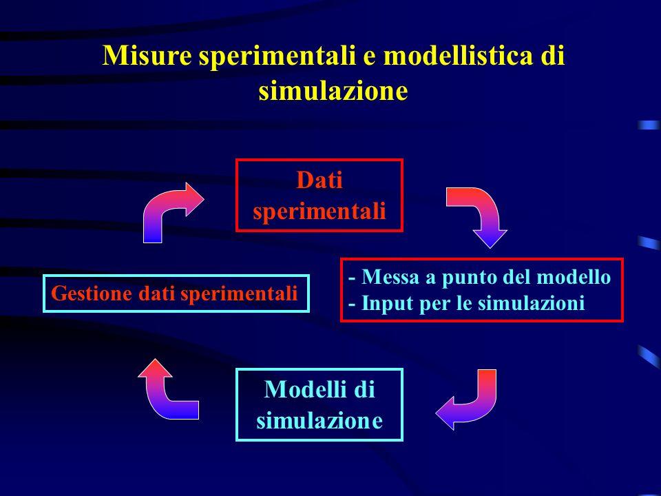 Modelli di simulazione Dati sperimentali - Messa a punto del modello - Input per le simulazioni Gestione dati sperimentali Misure sperimentali e model