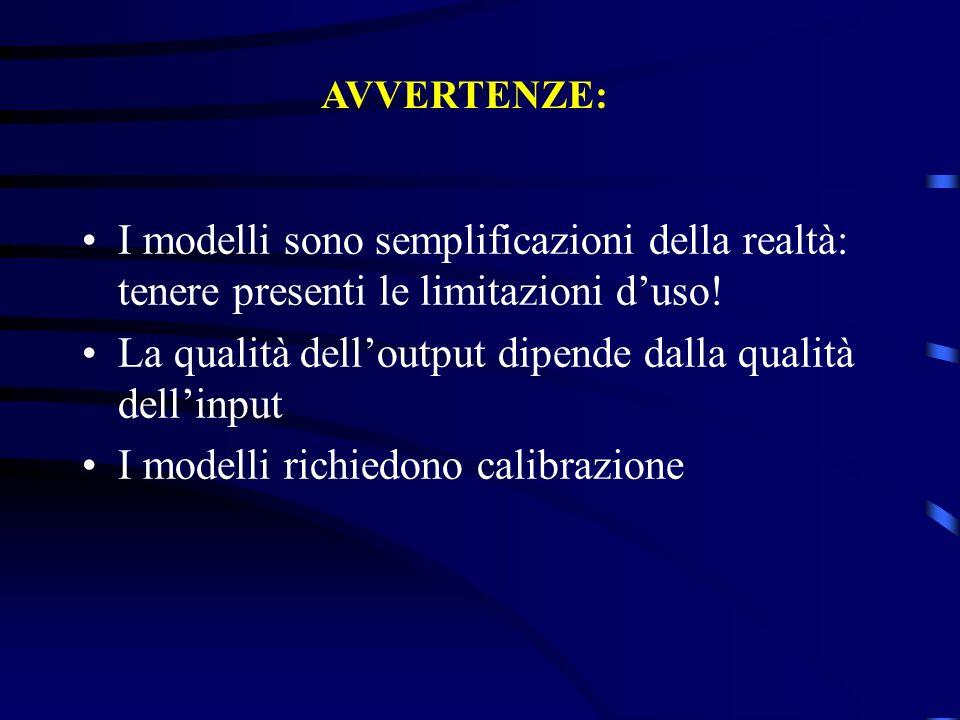 AVVERTENZE: I modelli sono semplificazioni della realtà: tenere presenti le limitazioni duso! La qualità delloutput dipende dalla qualità dellinput I