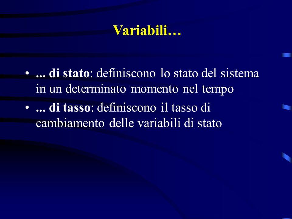 Variabili…... di stato: definiscono lo stato del sistema in un determinato momento nel tempo... di tasso: definiscono il tasso di cambiamento delle va