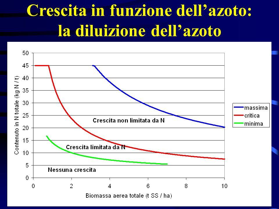 Crescita in funzione dellazoto: la diluizione dellazoto