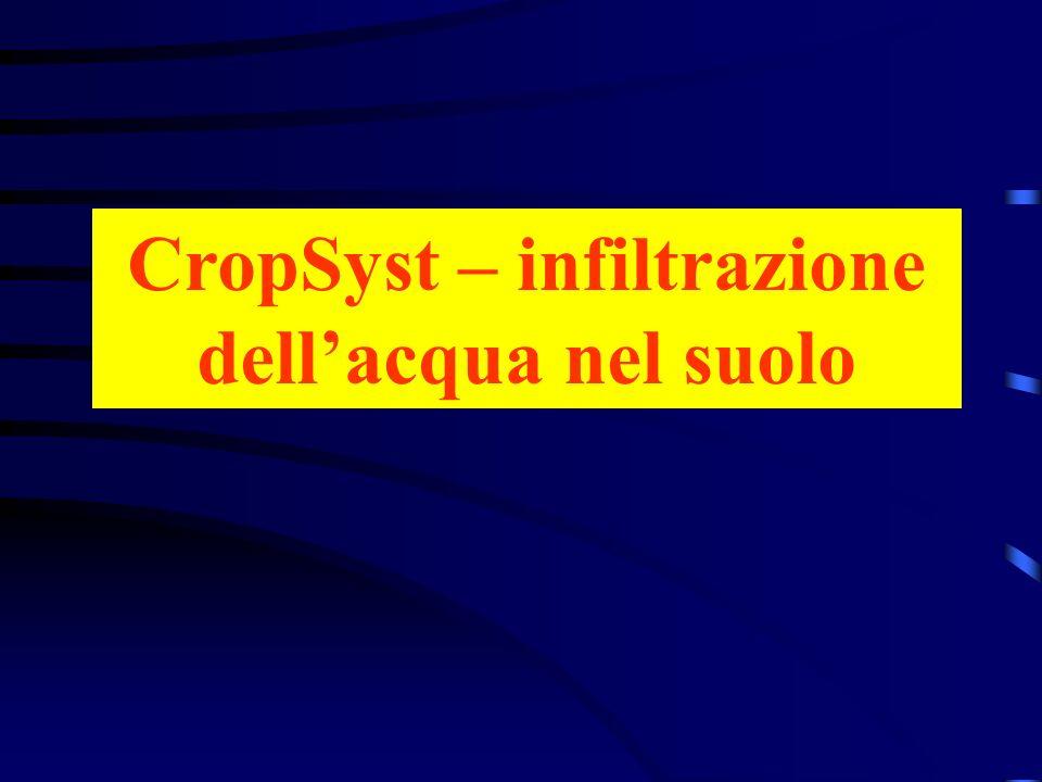 CropSyst – infiltrazione dellacqua nel suolo