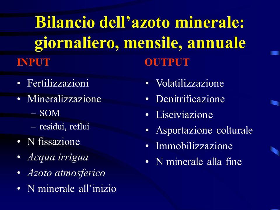 Bilancio dellazoto minerale: giornaliero, mensile, annuale Fertilizzazioni Mineralizzazione –SOM –residui, reflui N fissazione Acqua irrigua Azoto atm