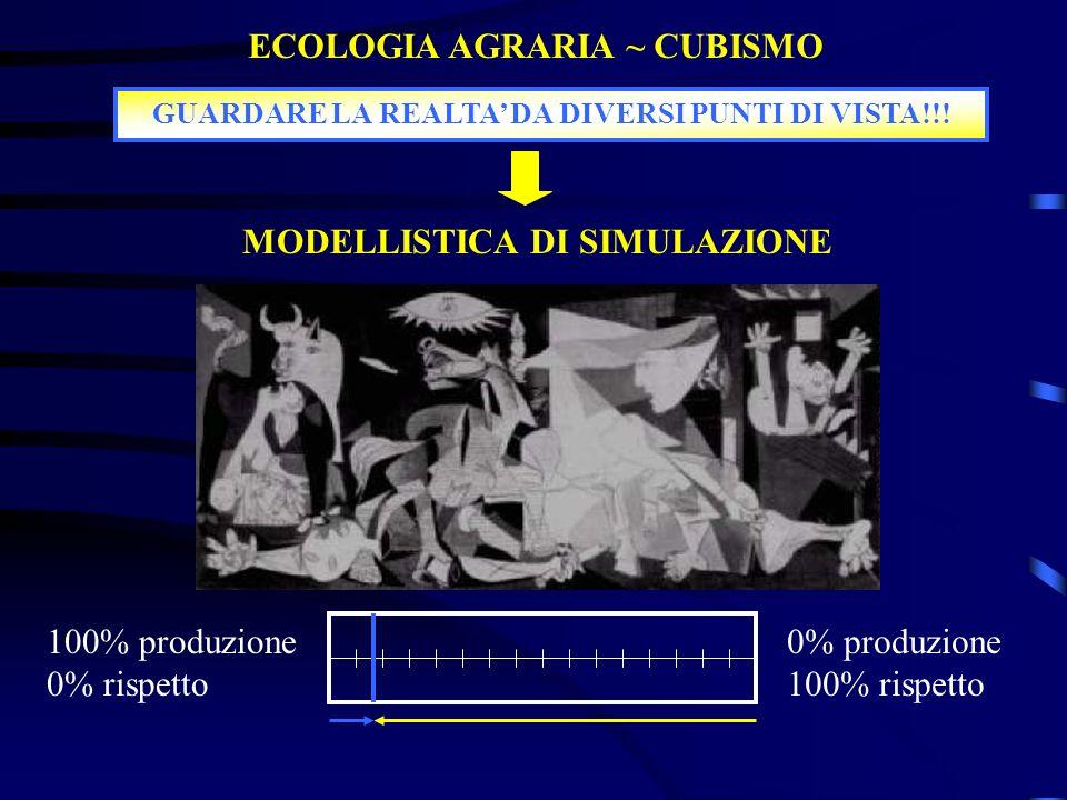 100% produzione 0% rispetto 0% produzione 100% rispetto ECOLOGIA AGRARIA ~ CUBISMO GUARDARE LA REALTA DA DIVERSI PUNTI DI VISTA!!! MODELLISTICA DI SIM