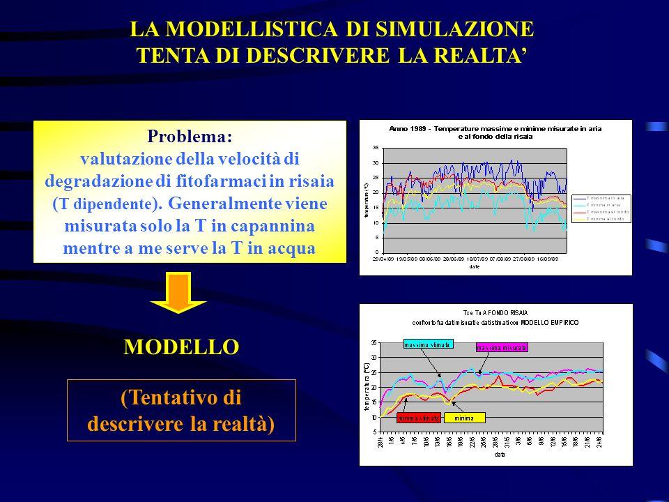 LA MODELLISTICA DI SIMULAZIONE TENTA DI DESCRIVERE LA REALTA Problema: valutazione della velocità di degradazione di fitofarmaci in risaia ( T dipende