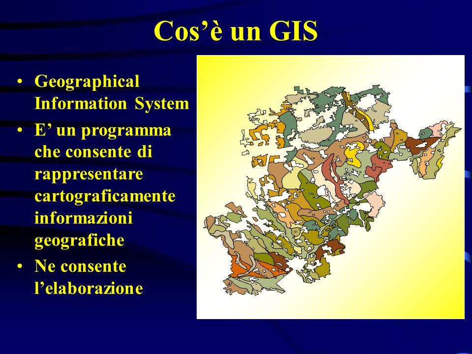 Cosè un GIS Geographical Information System E un programma che consente di rappresentare cartograficamente informazioni geografiche Ne consente lelabo