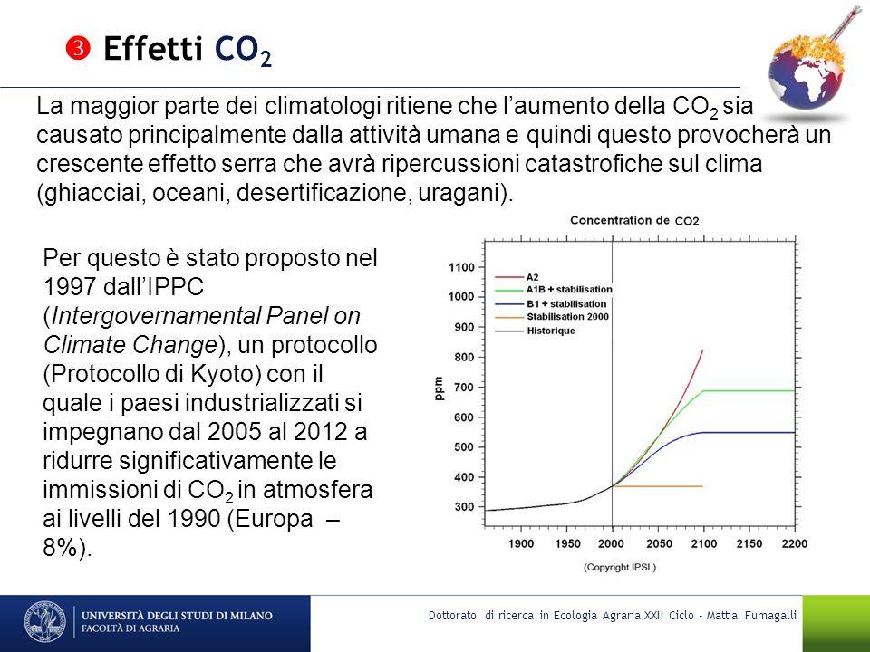 Dottorato di ricerca in Ecologia Agraria XXII Ciclo - Mattia Fumagalli La maggior parte dei climatologi ritiene che laumento della CO 2 sia causato pr