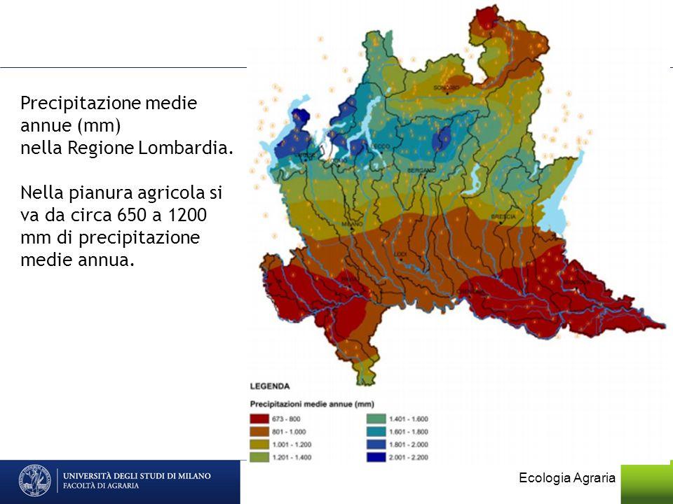 Precipitazione medie annue (mm) nella Regione Lombardia. Nella pianura agricola si va da circa 650 a 1200 mm di precipitazione medie annua.