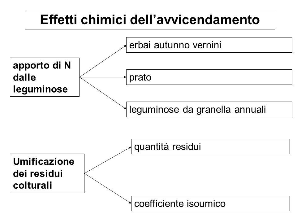 apporto di N dalle leguminose Effetti chimici dellavvicendamento erbai autunno vernini prato leguminose da granella annuali Umificazione dei residui c