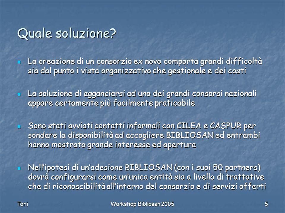 ToniWorkshop Bibliosan 20055 Quale soluzione.