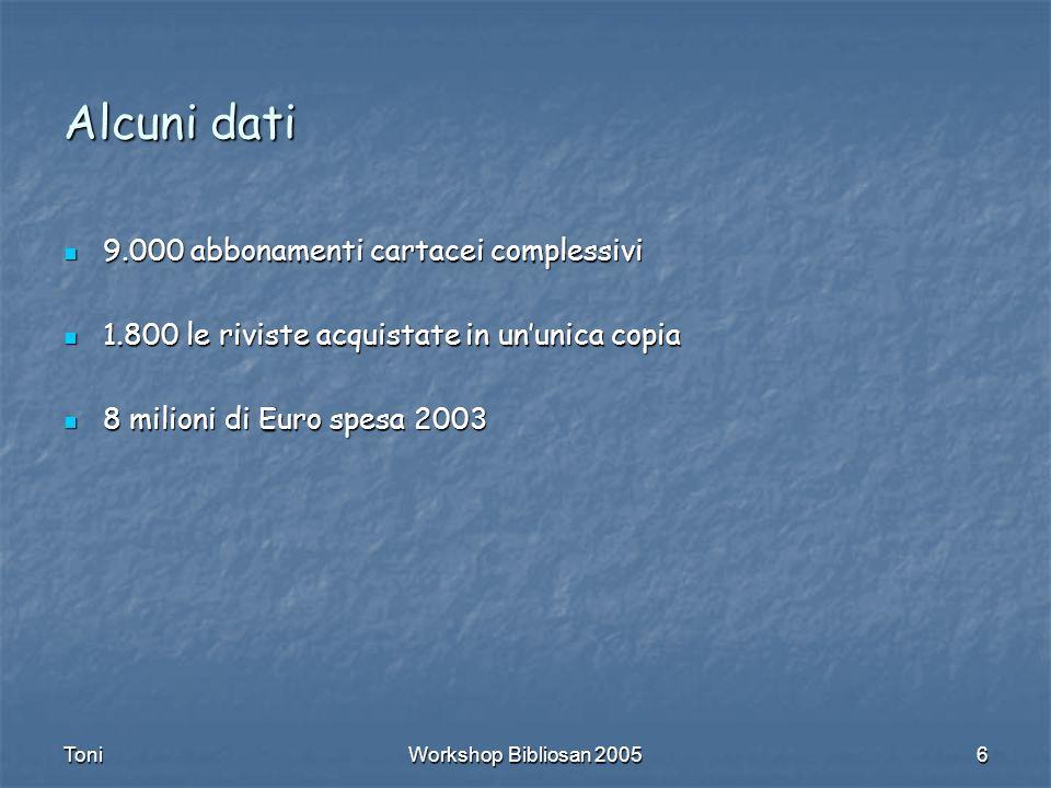 ToniWorkshop Bibliosan 20056 Alcuni dati 9.000 abbonamenti cartacei complessivi 9.000 abbonamenti cartacei complessivi 1.800 le riviste acquistate in ununica copia 1.800 le riviste acquistate in ununica copia 8 milioni di Euro spesa 2003 8 milioni di Euro spesa 2003