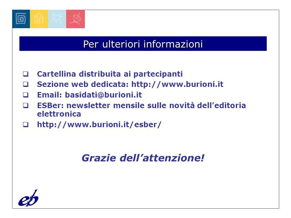 Per ulteriori informazioni Cartellina distribuita ai partecipanti Sezione web dedicata: http://www.burioni.it Email: basidati@burioni.it ESBer: newsletter mensile sulle novità delleditoria elettronica http://www.burioni.it/esber/ Grazie dellattenzione!