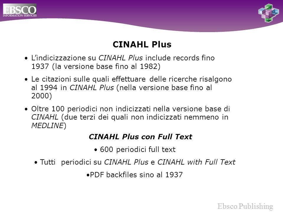 Ebsco Publishing Lindicizzazione su CINAHL Plus include records fino 1937 (la versione base fino al 1982) Le citazioni sulle quali effettuare delle ricerche risalgono al 1994 in CINAHL Plus (nella versione base fino al 2000) Oltre 100 periodici non indicizzati nella versione base di CINAHL (due terzi dei quali non indicizzati nemmeno in MEDLINE) CINAHL Plus CINAHL Plus con Full Text 600 periodici full text Tutti periodici su CINAHL Plus e CINAHL with Full Text PDF backfiles sino al 1937