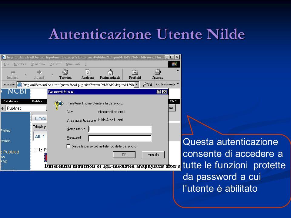 Autenticazione Utente Nilde Autenticazione Utente Nilde Questa autenticazione consente di accedere a tutte le funzioni protette da password a cui lutente è abilitato