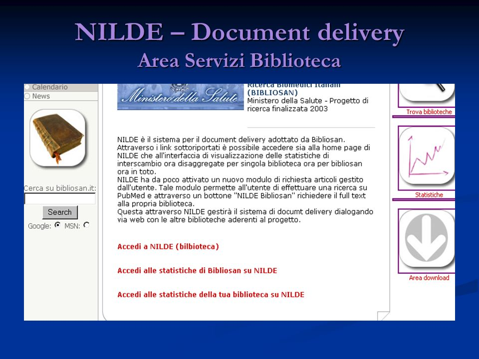 NILDE – Document delivery Area Servizi Biblioteca