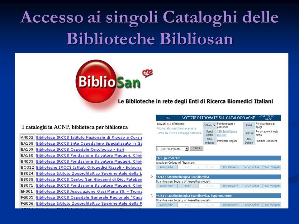 Accesso ai singoli Cataloghi delle Biblioteche Bibliosan