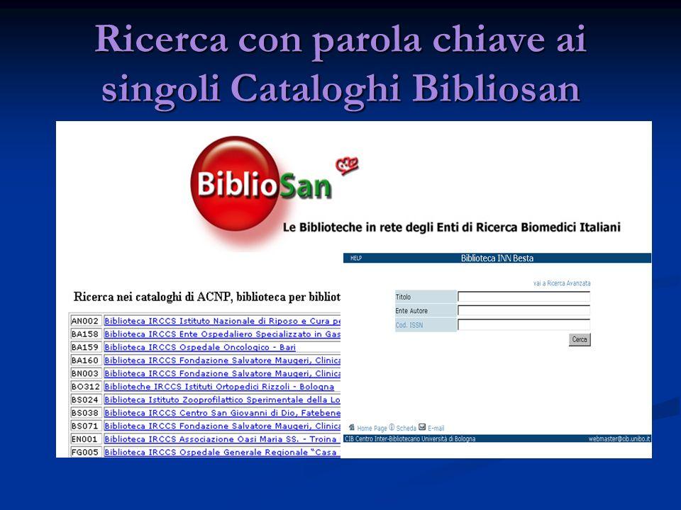 Ricerca con parola chiave ai singoli Cataloghi Bibliosan