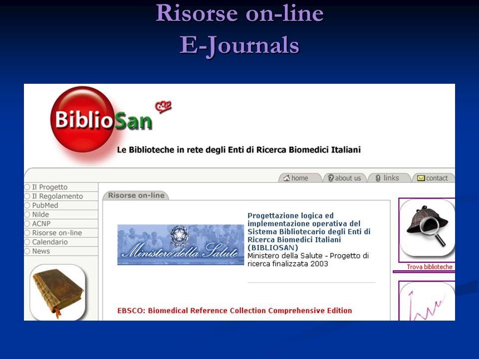 Risorse on-line E-Journals