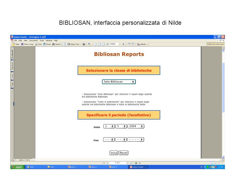 BIBLIOSAN, interfaccia personalizzata di Nilde