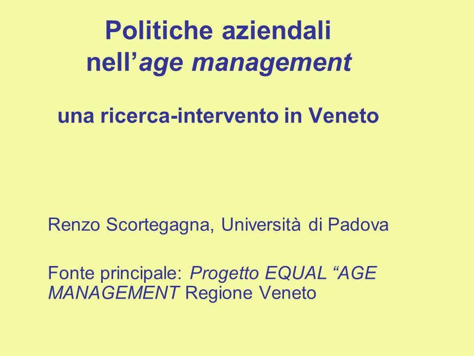 Politiche aziendali nellage management una ricerca-intervento in Veneto Renzo Scortegagna, Università di Padova Fonte principale: Progetto EQUAL AGE MANAGEMENT Regione Veneto