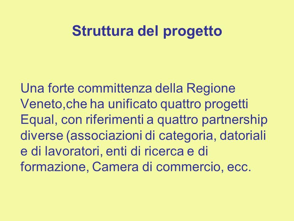 Struttura del progetto Una forte committenza della Regione Veneto,che ha unificato quattro progetti Equal, con riferimenti a quattro partnership diverse (associazioni di categoria, datoriali e di lavoratori, enti di ricerca e di formazione, Camera di commercio, ecc.