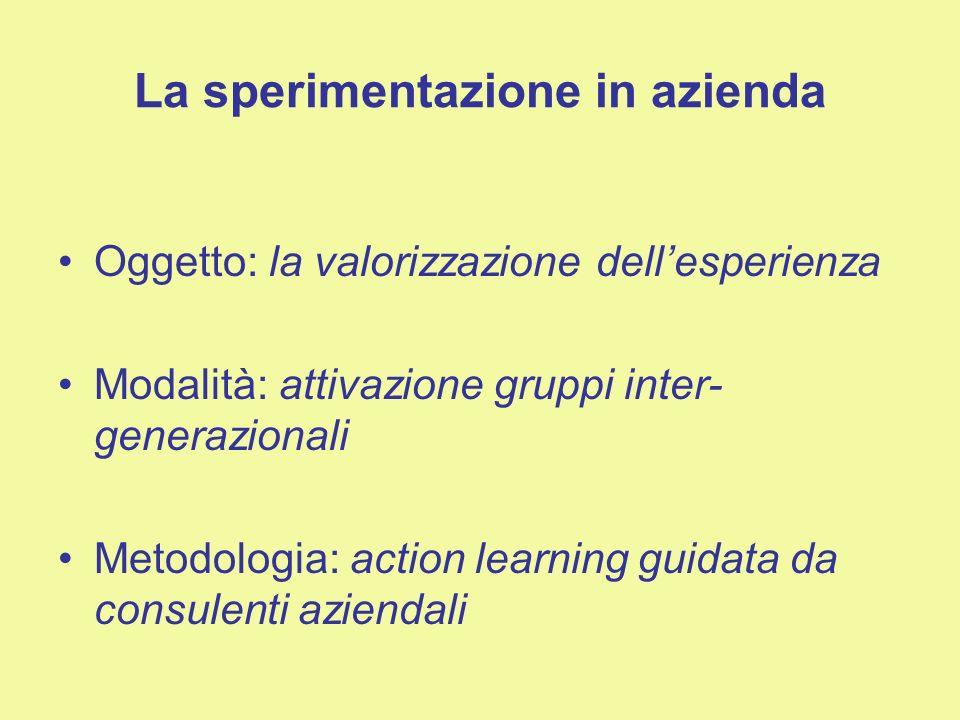 La sperimentazione in azienda Oggetto: la valorizzazione dellesperienza Modalità: attivazione gruppi inter- generazionali Metodologia: action learning guidata da consulenti aziendali