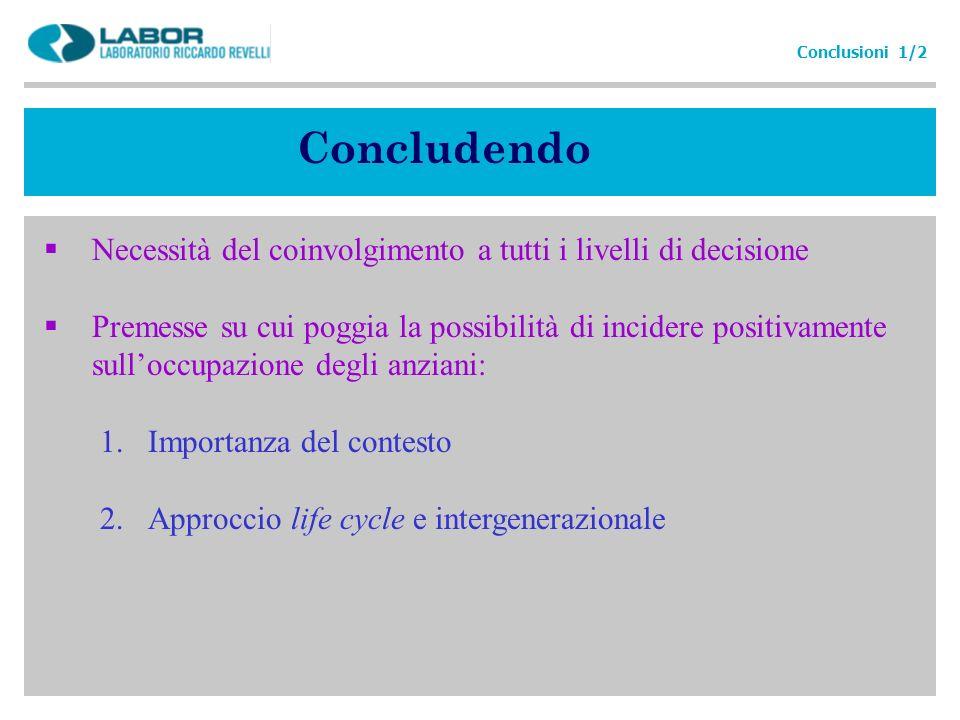 Concludendo Necessità del coinvolgimento a tutti i livelli di decisione Premesse su cui poggia la possibilità di incidere positivamente sulloccupazion