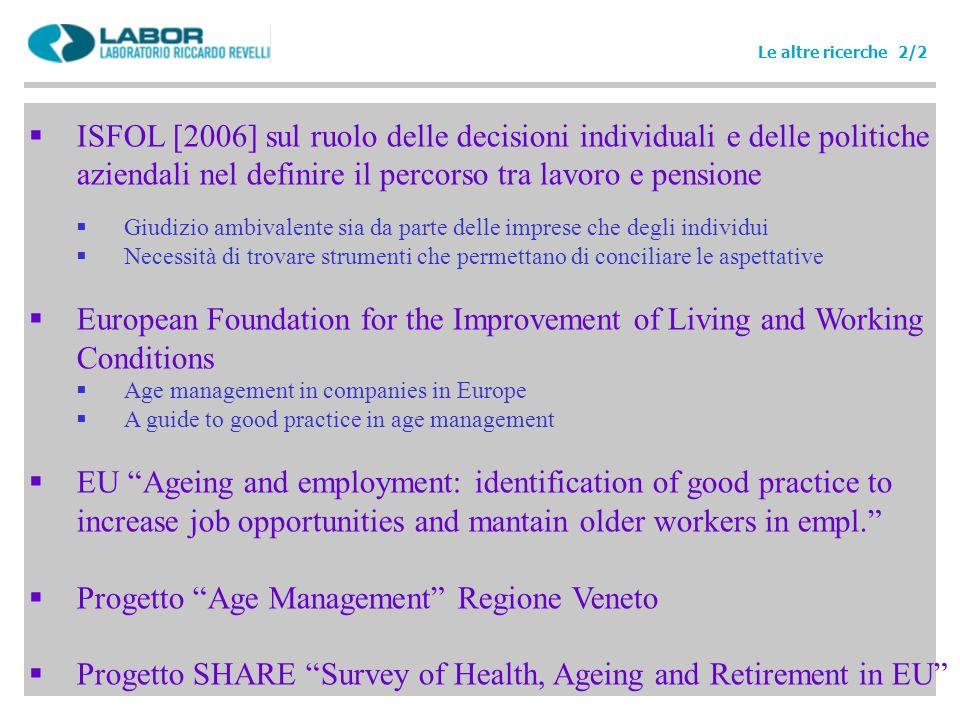 ISFOL [2006] sul ruolo delle decisioni individuali e delle politiche aziendali nel definire il percorso tra lavoro e pensione Giudizio ambivalente sia