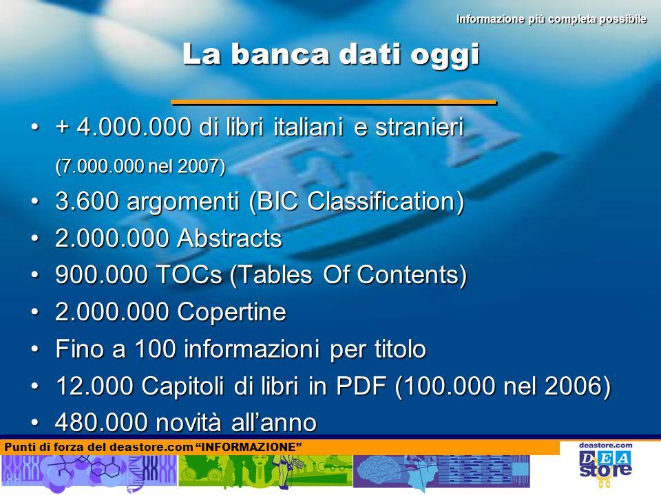 La banca dati oggi + 4.000.000 di libri italiani e stranieri+ 4.000.000 di libri italiani e stranieri (7.000.000 nel 2007) 3.600 argomenti (BIC Classification)3.600 argomenti (BIC Classification) 2.000.000 Abstracts2.000.000 Abstracts 900.000 TOCs (Tables Of Contents)900.000 TOCs (Tables Of Contents) 2.000.000 Copertine2.000.000 Copertine Fino a 100 informazioni per titoloFino a 100 informazioni per titolo 12.000 Capitoli di libri in PDF (100.000 nel 2006)12.000 Capitoli di libri in PDF (100.000 nel 2006) 480.000 novità allanno480.000 novità allanno Punti di forza del deastore.com INFORMAZIONE Informazione più completa possibile