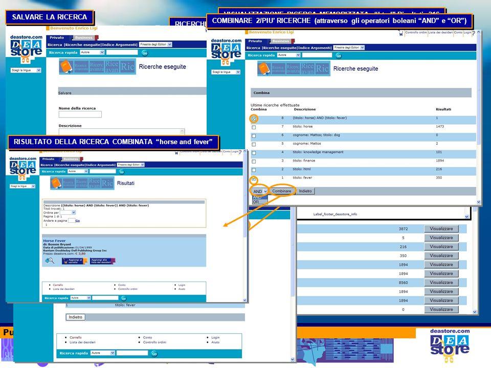 Punti di forza del deastore.com RICERCHE ESEGUITE Storia delle ricerche eseguite RICERCHE ESEGUITE Elenco compresso (Ultime 4 ricerche) VISUALIZZAZIONE RICERCA MEMORIZZATA: html Risultati: 216 RICERCA ESEGUITE Elenco completo RICERCHE SALVATE DETTAGLIO RICERCA SALVATA SALVARE LA RICERCA COMBINARE 2/PIU RICERCHE (attraverso gli operatori boleani AND e OR) RISULTATO DELLA RICERCA COMBINATA horse and fever