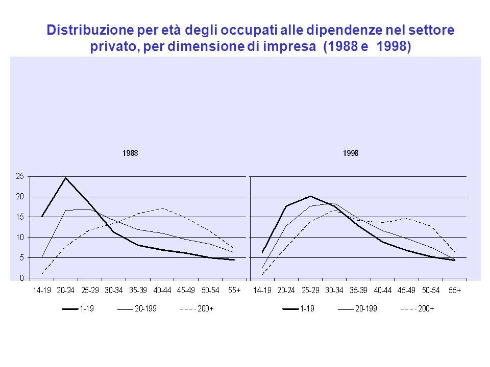 Distribuzione per età degli occupati alle dipendenze nel settore privato, per dimensione di impresa (1988 e 1998)