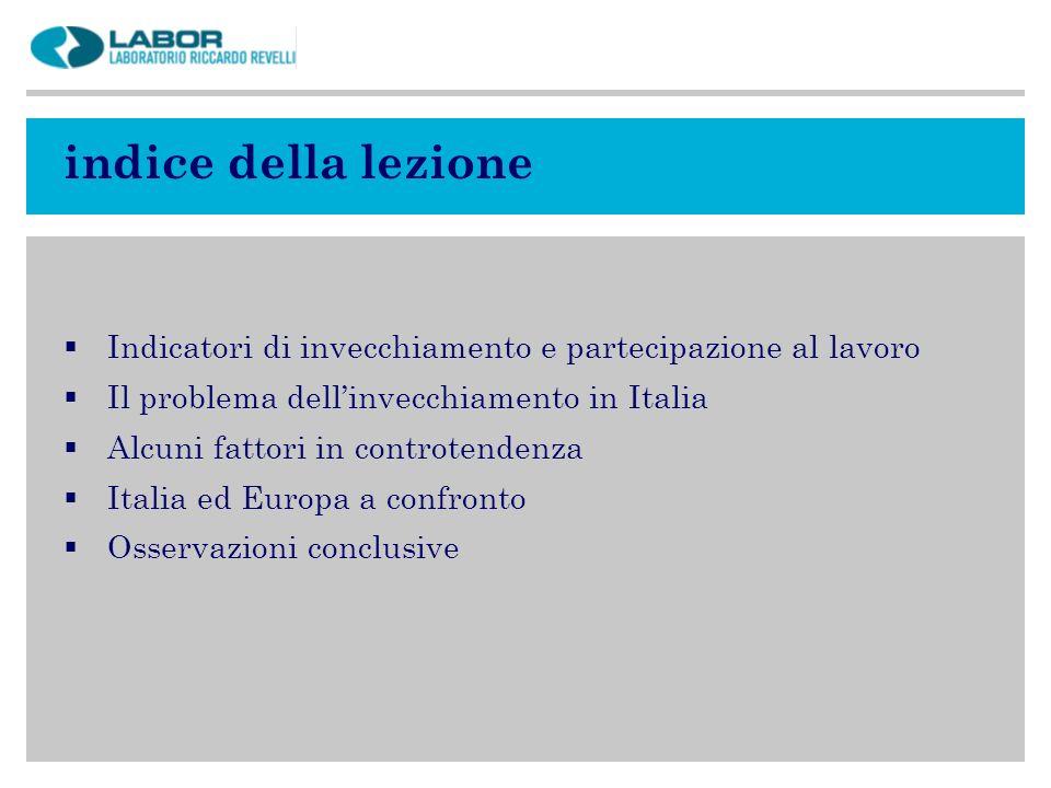 indice della lezione Indicatori di invecchiamento e partecipazione al lavoro Il problema dellinvecchiamento in Italia Alcuni fattori in controtendenza