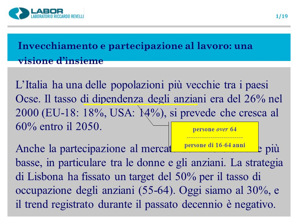 Invecchiamento e partecipazione al lavoro: una visione dinsieme LItalia ha una delle popolazioni più vecchie tra i paesi Ocse. Il tasso di dipendenza