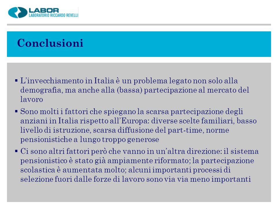Conclusioni Linvecchiamento in Italia è un problema legato non solo alla demografia, ma anche alla (bassa) partecipazione al mercato del lavoro Sono m