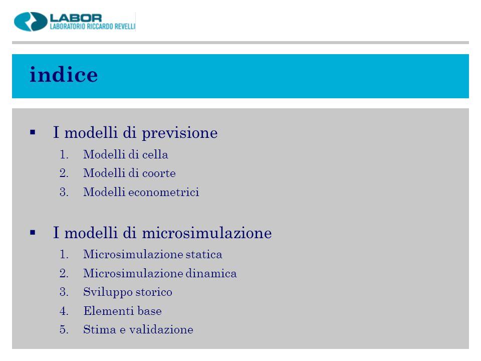 indice I modelli di previsione 1.Modelli di cella 2.Modelli di coorte 3.Modelli econometrici I modelli di microsimulazione 1.Microsimulazione statica