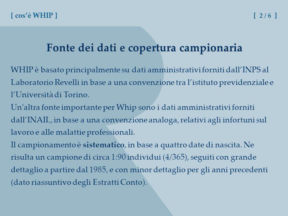 WHIP è basato principalmente su dati amministrativi forniti dallINPS al Laboratorio Revelli in base a una convenzione tra listituto previdenziale e lUniversità di Torino.