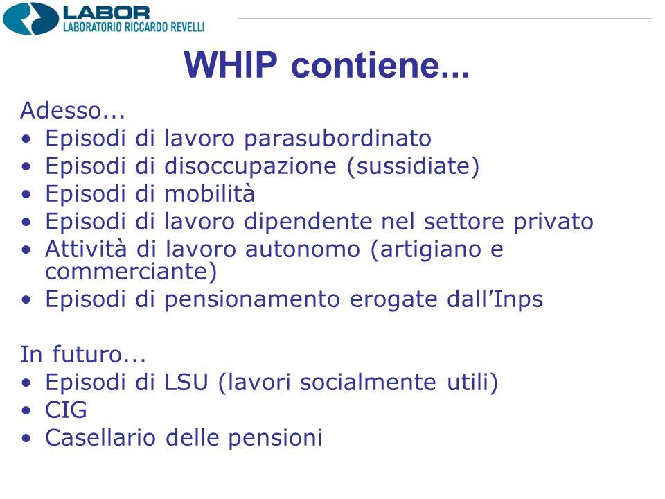 WHIP contiene... Adesso... Episodi di lavoro parasubordinato Episodi di disoccupazione (sussidiate) Episodi di mobilità Episodi di lavoro dipendente n
