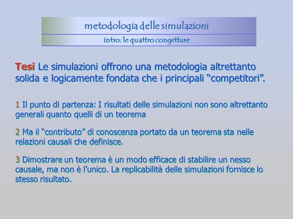 1 Il punto di partenza: I risultati delle simulazioni non sono altrettanto generali quanto quelli di un teorema 2 Ma il contributo di conoscenza porta
