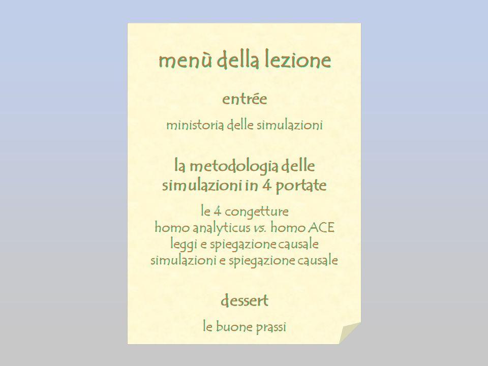 menù della lezione entrée ministoria delle simulazioni la metodologia delle simulazioni in 4 portate le 4 congetture homo analyticus vs.