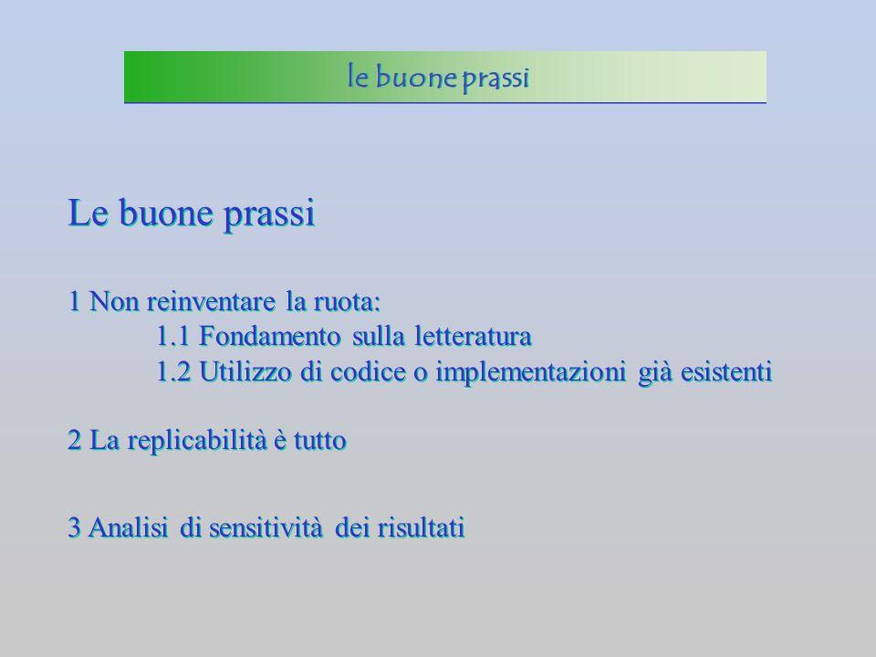 Le buone prassi 1 Non reinventare la ruota: 1.1 Fondamento sulla letteratura 1.2 Utilizzo di codice o implementazioni già esistenti 1 Non reinventare