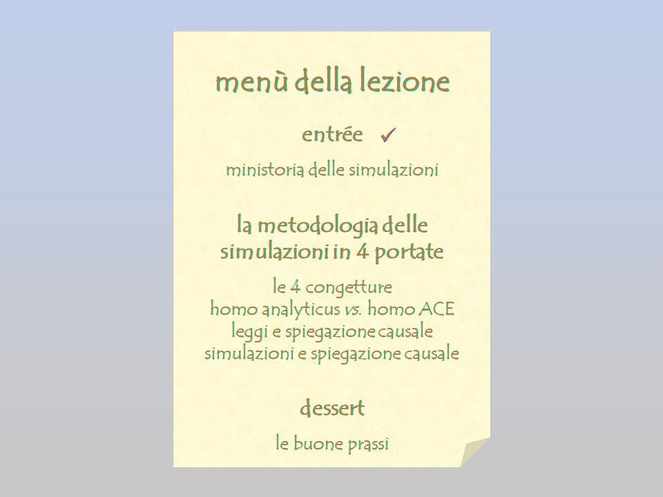 menù della lezione entrée ministoria delle simulazioni la metodologia delle simulazioni in 4 portate le 4 congetture homo analyticus vs. homo ACE legg