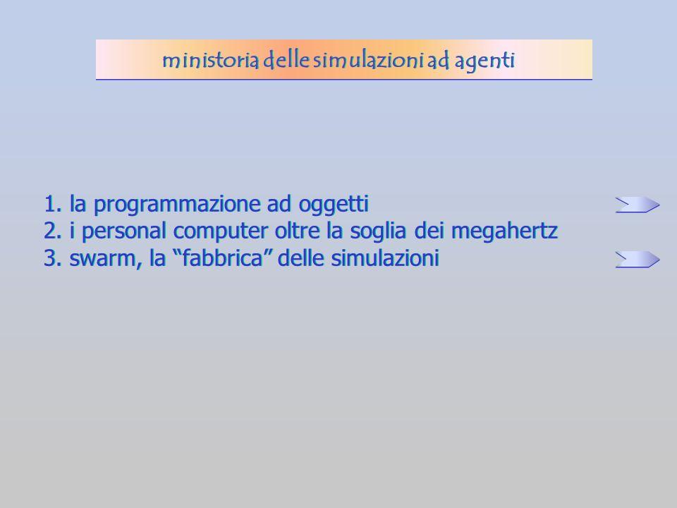 1. la programmazione ad oggetti 2. i personal computer oltre la soglia dei megahertz 3. swarm, la fabbrica delle simulazioni 1. la programmazione ad o