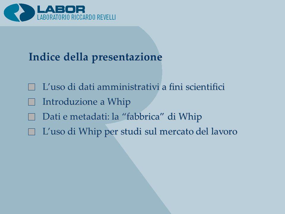 Indice della presentazione Luso di dati amministrativi a fini scientifici Introduzione a Whip Dati e metadati: la fabbrica di Whip Luso di Whip per st