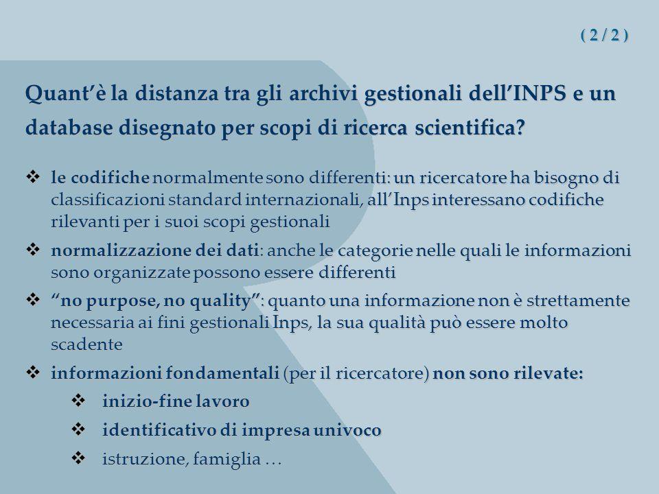 ( 2 / 2 ) Quantè la distanza tra gli archivi gestionali dellINPS e un database disegnato per scopi di ricerca scientifica.