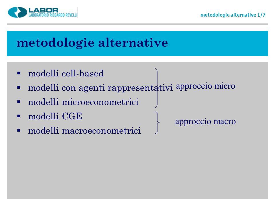 metodologie alternative modelli cell-based modelli con agenti rappresentativi modelli microeconometrici modelli CGE modelli macroeconometrici metodolo
